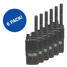 6 PACK EX-RENTAL MOTOROLA DIGITAL DP2600e SERIES RADIOS